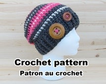 Slouchy crochet spring hat pattern by Akroche Tatuk (english and french)
