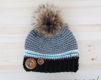 Rustik hat. gray, black, turquoise and cream woman crochet winter hat with buttons and fur pompom by Akroche Tatuk (made to order)