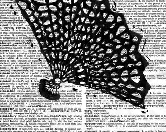 Dictionary Art Print. Home. Original crocheted fan block print by Jesse Larsen hand-printed. 8x10. Ready to frame. Typographical art print.