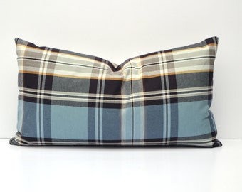 Blue Tartan Plaid Pillow Cover Blue, Plum, Black, Gold, Gray, Ivory, 14 x 24, 18 x 18, 12 x 16, Many Sizes Available