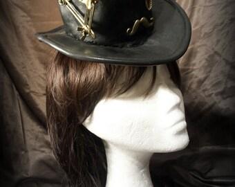 Sir Top Hat. Black leather automaton steampunk mini top hat.