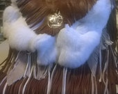 Fringe and Fur Leather Crossbody Handbag, handmade with fur,tree of life charms,lots of fringe,leather feathers,tail,lined