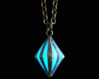Tiny Caged Glow In The Dark Necklace Glow In The Dark Pendant Glow In The Dark Jewelry Antique Bronze (glows aqua blue)