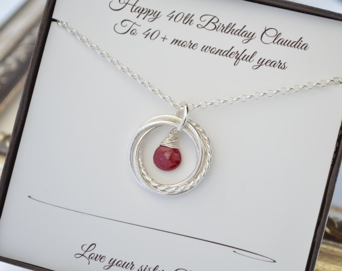 40th Birthday gift for her, July birthstone necklace, 4 Interlocking rings, 4th Anniversary gift, Sister jewelry, Four best friends gift