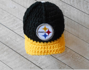 Baby Boy, Baby Boy Hat, Baby Boy Beanie, Pittsburgh Steelers Baby Boy hat, Baby Boy Baseball Cap, Infant crochet hat, Newborn Knitted hat