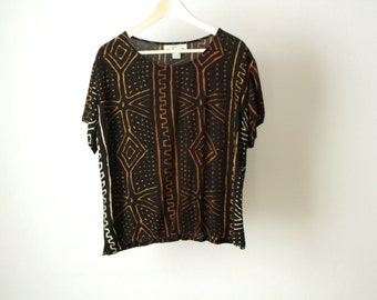 90s SOUTHWEST ikat shirt top button up SHORT sleeve shirt MUDCLOTH african print shirt top vintage 90s
