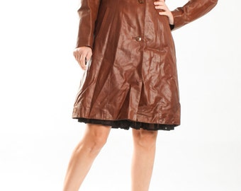 Vintage Choco Brown Leather Coat / Dark Brown Midi Leather Coat / Button Down 70s Retro Leather Jacket / Womens Size Small 6 8
