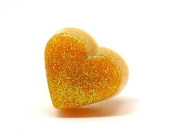 Yellow cocktail ring, big heart ring, yellow heart jewelry, glitter resin ring, statement jewelry, kawaii jewelry