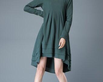 Teal Linen Dress - Feminine Asymmetrical Short Loose-Fitting Plus Size Long Sleeved Spring/Summer Woman's Dress  C804