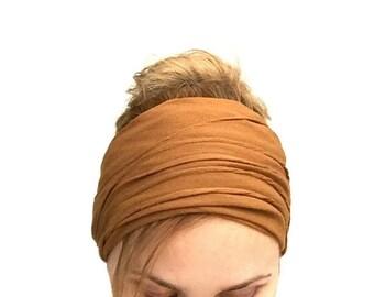 Light brown wide headband  boho bandana mustard headwrap stretch hair band elastic large women's head bands yoga headwraps