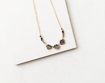 Tri-Triangle Pendant Necklace - Dainty Bohemian Statement Hand-Stitched Beaded Geometric Charm On Delicate Gold-Filled Chain