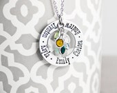 Mommy Necklace - Hand Stamped Stainless Steel Washer - Names and Birthstones - Personalized Mother's Day Gift