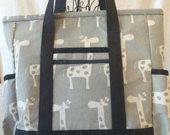 Giraffe Kitchen Sink Tote, Grey Diaper Bag, Professional Tote, Carry On, Travel Bag, Large Tote Bag with pocket, Travel Tote, Teacher Tote