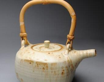 Clay Teapot Cream with Cane Handle C52