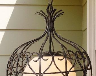 Vintage 1967 Moe Light Mediterranean Hanging Light Fixture, Moorish Style Wrought Iron, Pendant, Chandelier, Mid Century, Spanish Revival
