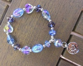 Sparkly Bracelet in Iridescent Purples and Blues, Glass Crystals, Elastic with Silver Heart Charm Dangle