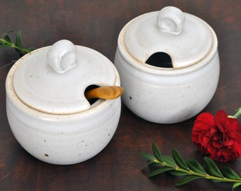 Small Pottery Sugar Jar, Honey Pot, or Salt Cellar in Satin White.  Ceramic Lidded Jar with Spoon Rest.  Modern Home & Kitchen