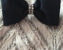 Girl's Navy Fabric Hair Bow!