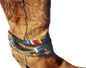 Boot Belt, SIlver Boot Chain, Boot Bracelet, Boot Jewelry, Boot Cuff, Mexican Blanket Saltillo Handmade Boot Accessory, Cowgirl Western