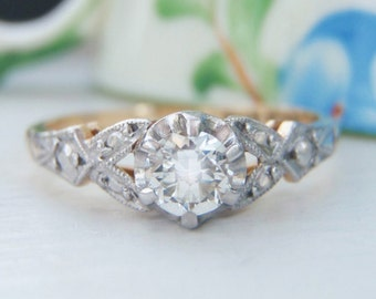 Stunning Vintage Solitaire Diamond Engagement Ring. 18K Yellow Gold & Platinum. Fabulous Detailed Shoulders. Flawlessly Eye Clean Diamond!