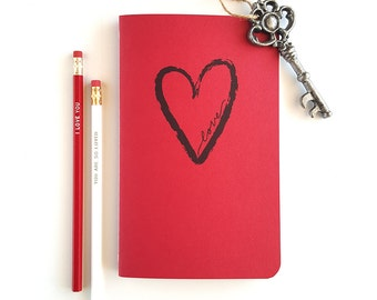 Brushed Heart —Hand Lettered Notebook Journals —80 pages —Love Gift, Brushed Hearts, Deep Red