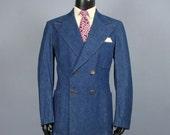 Denim Sport Coat -- Mens' Vintage 1970s Wrangler Wrapid Transit Double Breasted Wide Lapel Jacket -- Mens Size 42 43