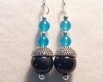 Obsidian Beaded Earrings, Blue Jade, Gemstones, Dangle and Drop Earring, Sterling Silver Ear Wires, Antique Bead Caps, 12mm beads, 6mm beads