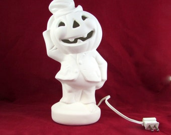 Ready to Paint Pumpkin Head with Light Kit -14 inches - hand made, Halloween