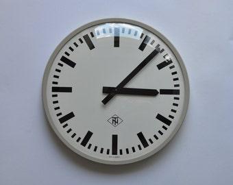 "18"" diameter Vintage German Industrial wall clock from TN. 1970s. Gray Rim. Made in Germany. 1182"