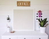 Square White Framed Burlap Bulletin Board, Memo Board, Office Decor, Command Center, Kitchen Bulletin Board, Organizing Accessory Hanger