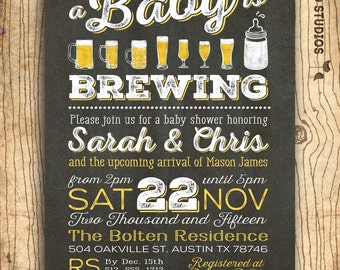 A baby is brewing coed baby shower invitation - beer baby shower couples shower - gender neutral chalkboard baby shower invitation