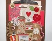 Red Inspiration Kit*Natural Love*Valentine's Day Scrapbook Embellishment Pack