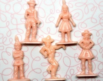 Vintage Miniature Pink Hard Plastic Cowboys and Indians Figurines*Set of 5 Pink Plastic Dolls
