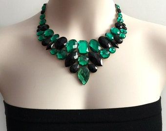bib emerald, jet black rhinestone tulle bib necklace