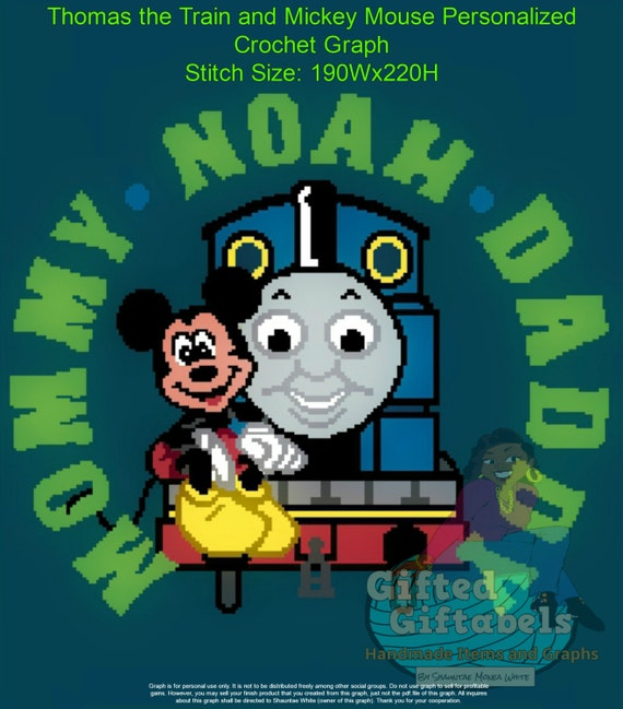 Inspired Thomas Train And Mickey Mouse Crochet Graph