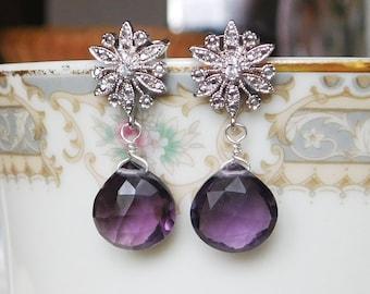 Amethyst Quartz Earrings , Silver Flower Post Earrings , Purple Post Drop Earrings , February Birthstone Earrings
