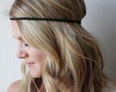 Crochet Leather Boho Headband Black Hippie Festival Hair Accessory