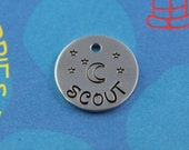 SMALL Dog or Cat Tag - Cute custom Metal Name Tag - Handstamped - Moon and Stars Tag - Phone Number on Back