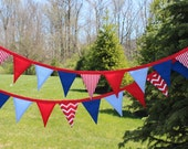 50% off SALE! 4th of July Fabric Pennant Banner. Fourth of July Bunting. Patriotic Garland. Red White and Blue Decor. USA. Independence Day.
