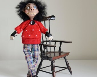 OOAK Quirky Weird Art Doll - Weird Clive Doll - Handmade by Cheryl Austin