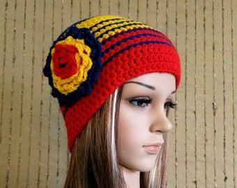 Crochet Hat, Womens Flower Beanie, Winter Wool Hat, AFL Adelaide Crows Football Beanie, School Student Beanie Red Blue Yellow Hat, Australia