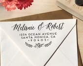 Handwriting Address Stamp with flowers for weddings and return address stamping, great personal gift for holidays, housewarming and weddings
