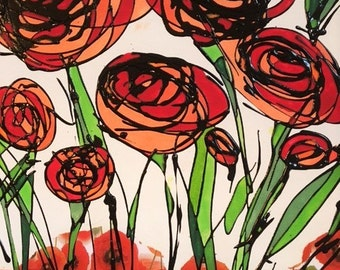 """Acrylic Painting On Canvas """" Poppies """""""