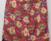 "Rare 90's Vintage ""TOMMY BAHAMA"" Patterned Nylon Swim Shorts/ Trunks Sz: LARGE (Men's Exclusive)"