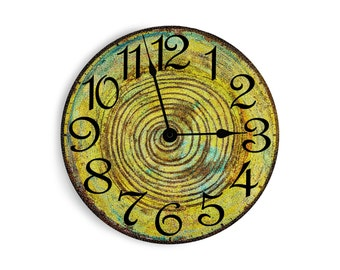 Lime green wall clock with hints of turquoise and a dark swirl in the middle. Circle design.