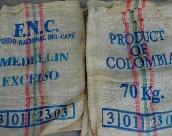 Vintage Coarse Burlap Coffee Bags Product of Colombia Jute Gunny Sack Craft Fabric
