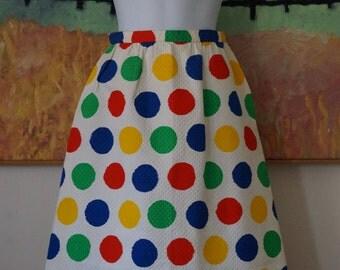 Vintage 1960s Nelly de Grab Skirt / 1960s Skirt / Polka Dot Skirt Summer Skirt Cotton Pique Skirt / Brushstroke Print / Primary Colors / XXS