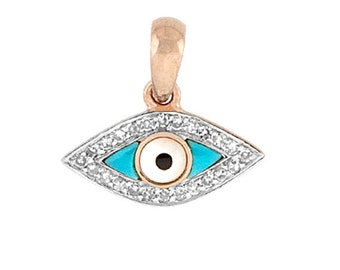 14k Solid Gold, Turquoise and Pave Diamond Evil Eye Pendant Charm - Beautiful Protection!
