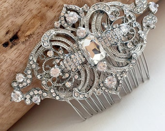 Vintage Wedding Hair Comb, Rhinestone Hair Comb, Bridal Hair Comb, Bridal Headpiece, Antique Hair Comb, Hair Combs for Wedding ~TC-186