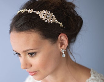 Gold Bridal Headband, Bridal Hair Accessory, Rhinestone Bridal Headband, Vintage Headband, Gold Headpiece, Gold Wedding Headband ~TI-3168-G
